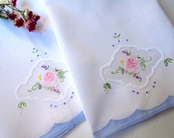 Linen Kitchen Towels   Dish Towel   Dishcloth    Embroidered  Linens  Kitchen Decor  Vintage Linens.