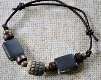 Men's ceramic bracelet on leather with brown and black beads, brass beads,  Men's