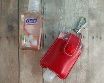 Small Hand Sanitizer Holder, Red Vinyl with Snap, Great for Backpacks, Bags and Purses, Quick Ship, Choose from 24 Colors, Made in USA