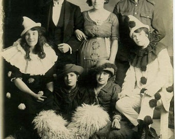 Harlequin clown cowboy masquerade group 1920s photo