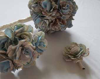 British map wedding bouquet, bridesmaid bouquet and buttonhole with handmade paper roses