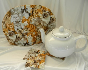 Multi Cat Faces Teapot Cozy  Keep Your Tea Warm Elegant Cozy Lined in Complementary Cotton Insulated 6 Cup Cozy FREE US Shipping