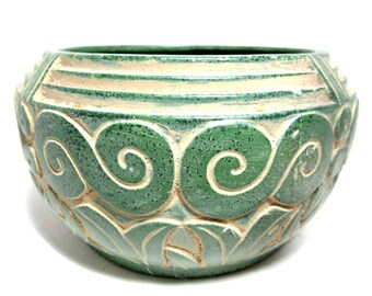 Claire Burke Pottery, Jade Green Bowl or Planter, Ornate Scrolling Design, Collectible Pottery