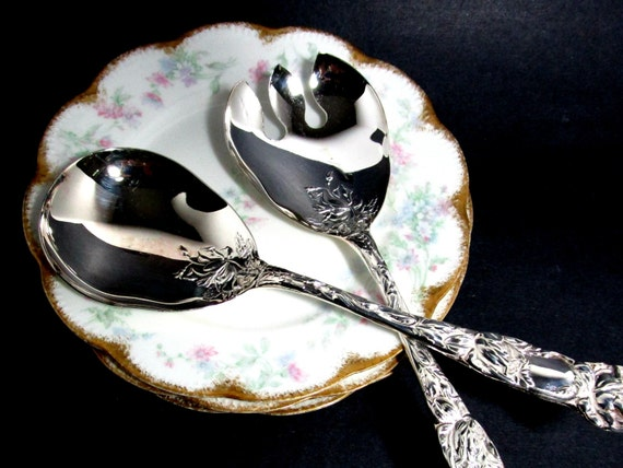 Silver Plate Serving Utensils, Salad Serving Set, Italy, Ornate Serving Spoon Fork, WA Italy