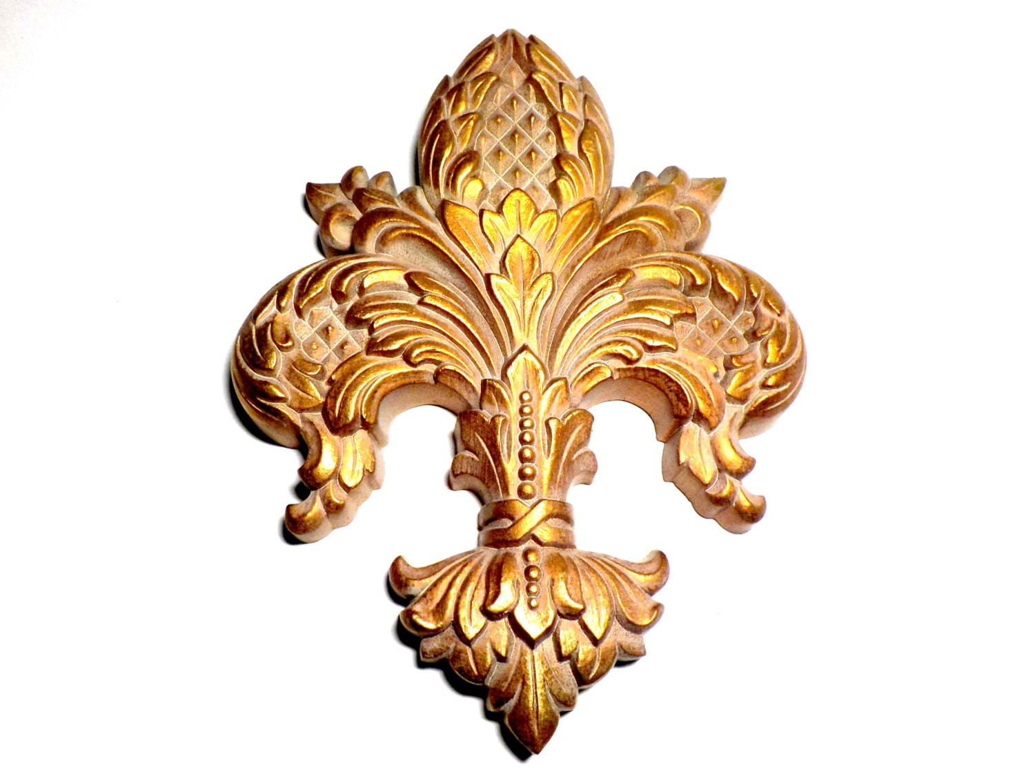 Vintage gold wall decor gold fleur de lis french decor old for Gold wall art