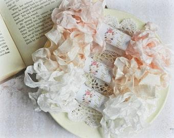 Seam Binding Ribbon / Crinkled Seam Binding / 15 Yards / Shabby Chic Ribbon / Gift Wrapping / Pink, Cameo, White / Gift Wrap Kit