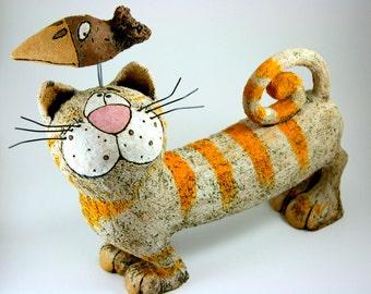 Ginger-White Ceramic Cat, Cat Sculpture, Pottery Cat, Handmade Cat, Art decor, Animal sculpture, Ginger cat , Art Cat sculpture
