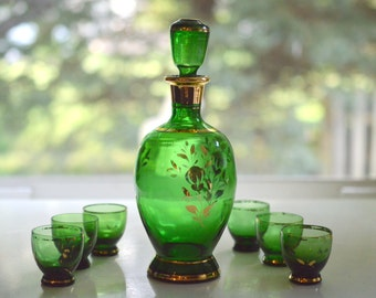 Decanter and Goblet Set Green and Gold Bohemian Cordial Shot Glasses
