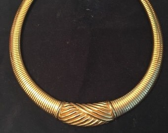 Christian Dior Necklace - Gold Tone Choker Necklace - S1971