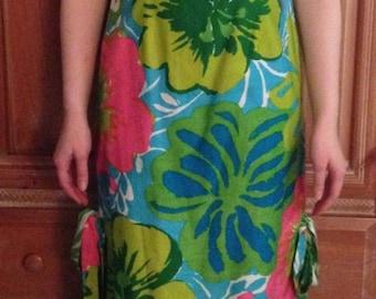 Polly Hornburg Calypso Hawaiian Maxi Shift Dress