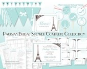 Aqua French Paris Complete Collection Downloadable/Printable Bridal Shower Invitation, Games, Labels, Cupcake Toppers, Thank You & Banner