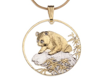 """Chinese Panda Bear Pendant and Necklace, Chinese Panda Coin Hand Cut, 14 Karat Gold and Rhodium Plated, 1 1/4"""" in Diameter, ( #879 )"""