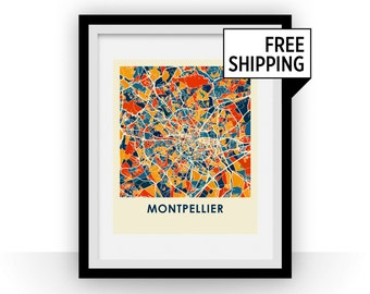 Montpellier Map Print - Full Color Map Poster
