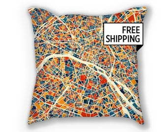 Paris Map Pillow - France Map Pillow 18x18
