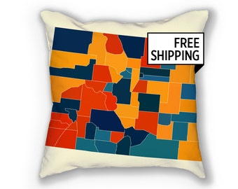 Colorado Map Pillow - CO Map Pillow 18x18