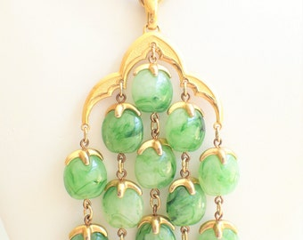 Trifari Jade Green Lucite Waterfall Chandelier Pendant Necklace