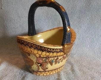 Asian Basket - Porcelain Basket - Satsuma Style