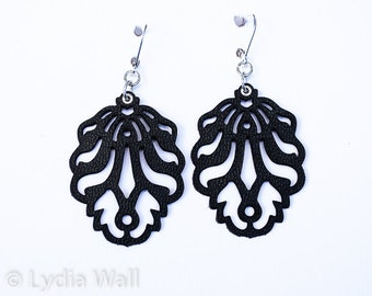 """Laser Cut Leather Earrings- """"Falling Leaves"""" smaller version in Black and Pearl blue"""