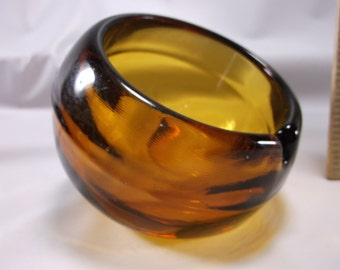 Ashtray Vintage Viking Glass Orb Ashtray, Amber Color Highly  collected .epsteam