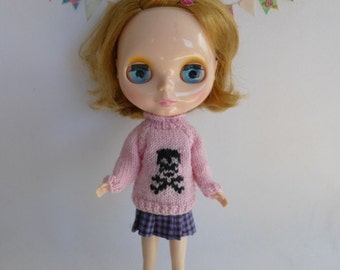 "Hand Knit Wool Blythe 12"" Doll Jumper in Rosey Pink with Black Skull and Crossbones Halloween Winter Wear"