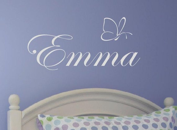 Girl Butterfly Wall Decal - Personalized Name Vinyl Wall Decal - Monogrammed Vinyl Lettering - Girls Room Decor- Baby Nursery - 101