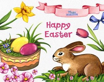 Easter Bunny Clip art Easter Clip art, Hand Painted Watercolor Easter Basket, Easter Eggs, DIY Easter, Spring Flowers Easter Elements Banner