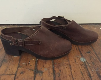 Vintage Aldo Leather Platform Clogs 9