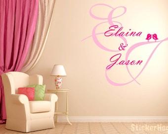 "CUSTOM Wedding Couple Monogram Name Vinyl Wall Decal Graphics 27"" x 25"""