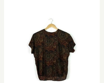 SUMMER SALE Vintage Brow Paisley Short Sleeve Slouchy  Blouse from 1980's*