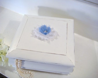 White jewelry box, blue jewelry holder, girls jewelry box, shabby chic decor, trinket holder, blue jewelry box