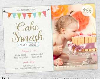 Cake Smash Mini Session Template, Cake Smash Marketing Board, Photoshop Template, Cake Smash Template, 1st Birthday - 02-MB-00-001