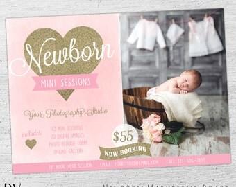 Newborn Photography Marketing Board, Photoshop, Newborn Marketing, Newborn Mini Session, Photoshop Templates for Photographers - 05-001-MB
