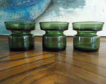 Dansk IHQ Jens Quistgaard Candle Holders . Set of 3 Green Glass