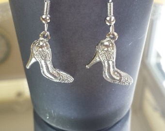 Tibetan silver high heel shoe design earrings