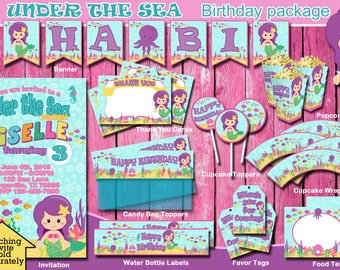 UNDER THE SEA/ lil Mermaid/ Party package/ Instant Download/ Birthday Package/ Banner/ Toppers/ Labels/ Tags/ Wrappers/ Cards/ 1st Birthday