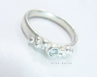 Aquamarine & Sterling Silver Bubble Oval Ring