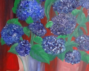 Hydrangeas in vases 24 x 30 x 1/2 inches large acrylic textural painting  unframed stretched canvas, contemporary wall art
