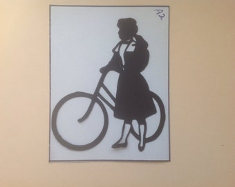 Simply Silhouettes/ Sweet Silhouette Die Cuts/Lady on a Bicycle - s5
