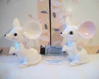 Vintage White Mice Figurines