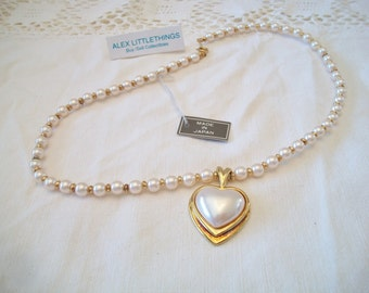 Vintage Pearl Heart Necklace Retro Costume Jewelry Japan Romantic Valentine's Day Wedding