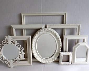 Shabby Chic Picture Frames And Mirrors Distressed Ornate - Vintage - Creamy Cottage White Collection - Gallery Wall - Wedding - Baby Nursery
