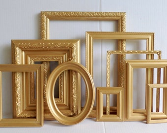 Gold PICTURE FRAMES Set Of 9  - Romantic Victorian Ornate - Vintage Gold - Romantic Wedding - Gallery Wall Collection - Frame Collage