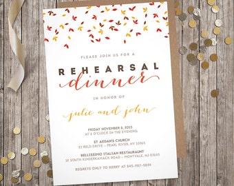 Falling Leaves - Rehearsal Dinner Invitation (Digital File)