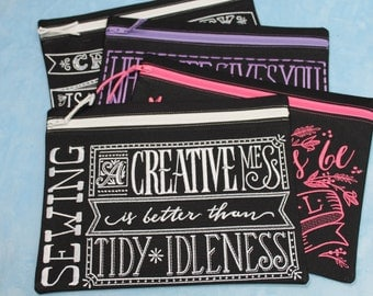 Handmade BlackBoard Bags with Sewing Sayings