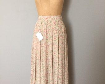 pastel silk skirt | pleated liz claiborne silk maxi skirt