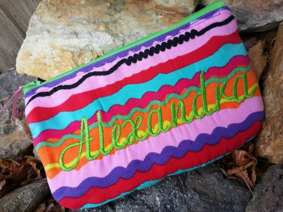 Personalized Cosmetic Bag, Girl's Colorful Zipper Pouch