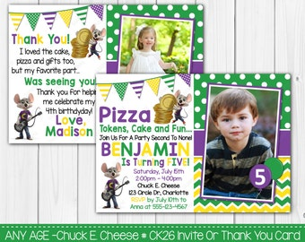 SALE - Any Age - Chuck E. Cheese Birthday Invitation OR Thank you card Digital Invite File