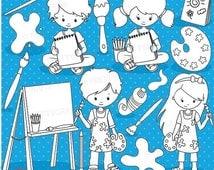 80% OFF SALE Little artists clipart, clipart commercial use, vector graphics, digital clip art, digital images, classroom - DS908