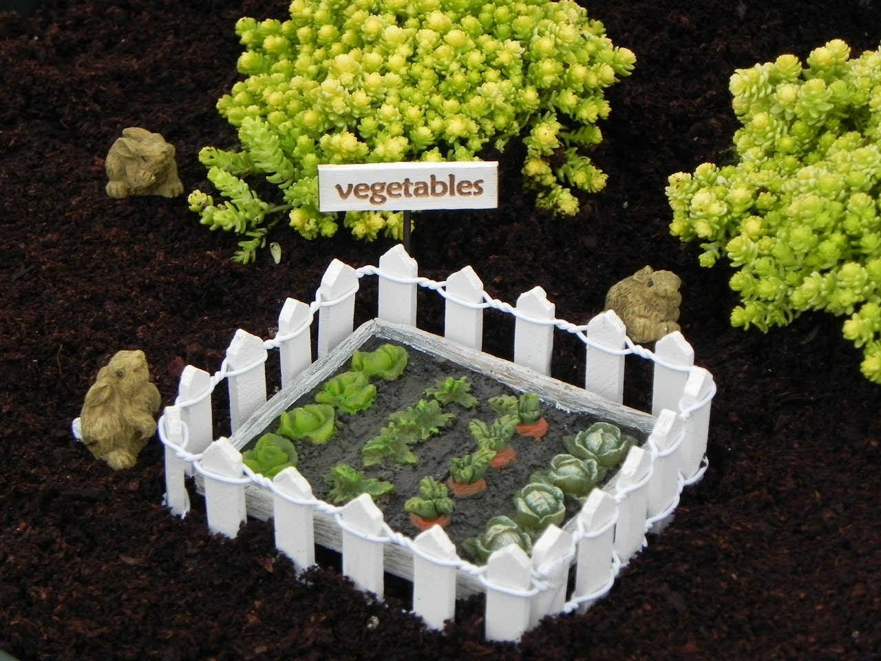 Fairy garden vegetable patch sign miniature bunny rabbit white for Vegetable patch in small garden
