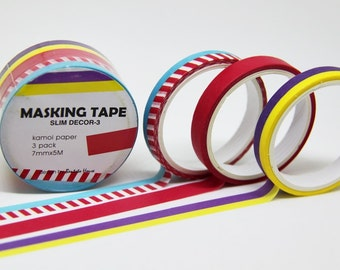 NEW Slim Washi Tape--SET of 3 Rolls--5m x 7mm.Masking Tape. Adhesive-DIY. Gift wrapping. Tag Making. Scrapbooking.Patterned Tape